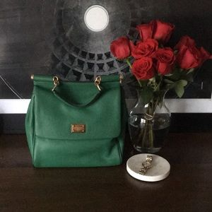 Dolce & Gabbana Sicily bag in green with strap